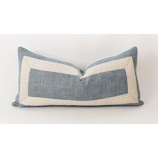 Light Blue Linen Greek Key Lumbar Pillow Preview