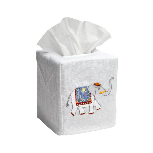 Blue Elephant Tissue Box Cover in White Linen & Cotton, Embroidered For Sale - Image 4 of 4
