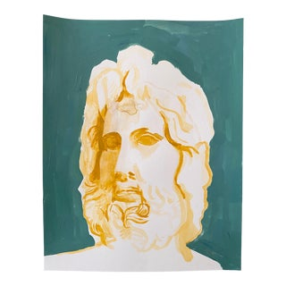 Original Painting of Bust of Zeus, Acrylic on Paper For Sale