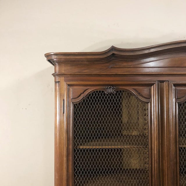 Early 20th Century Antique Italian Walnut Piemontese Triple Bookcase For Sale - Image 5 of 13