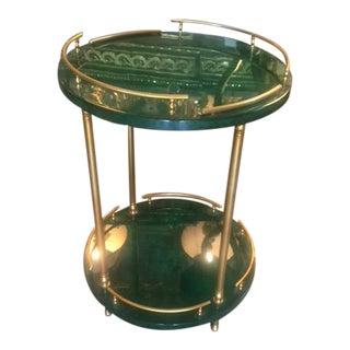 1950s Mid-Century Modern Aldo Tura 2 Tier Faux Malachite Parchment Table For Sale