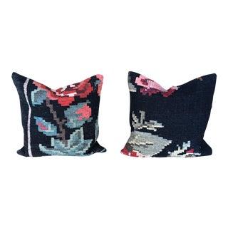 Antique Karabagh Region Rose Kilim Pillows - A Pair For Sale