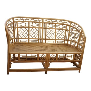 Vintage Mid Century Bamboo Rattan Pavilion Chinoiserie Palm Beach Chinese Chippendale Settee Loveseat For Sale