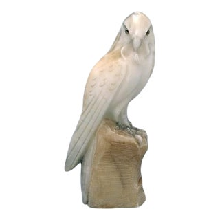 Antique Hand Carved Italian Stone Alabaster Hawk For Sale