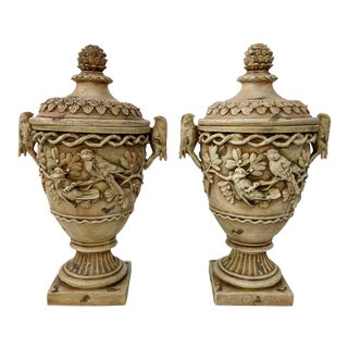 Neoclassical Lidded Urns, a Pair For Sale