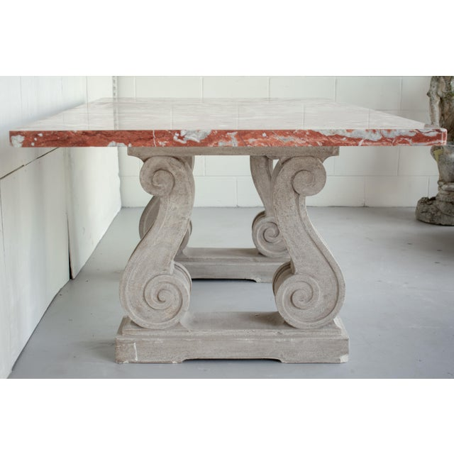 Vintage Mid Century French Marble-Top Center Table For Sale - Image 10 of 12