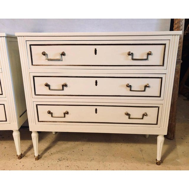 Maison Jansen Pair of Stamped Jansen Commodes or Nightstands Chests in Louis XVI Style For Sale - Image 4 of 13