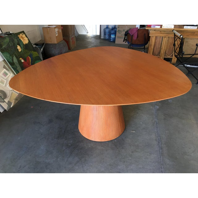 "Brown High Style Guitar Pick Shaped ""Knife Edge"" Dining Room Table With Tapered Base For Sale - Image 8 of 8"