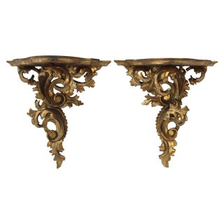 Pair of Italian Giltwood Brackets For Sale