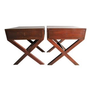 Wood Nightstands With X Legs - a Pair For Sale