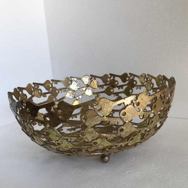 Contemporary Groovy Metal Key Decor Bowl For Sale - Image 3 of 9