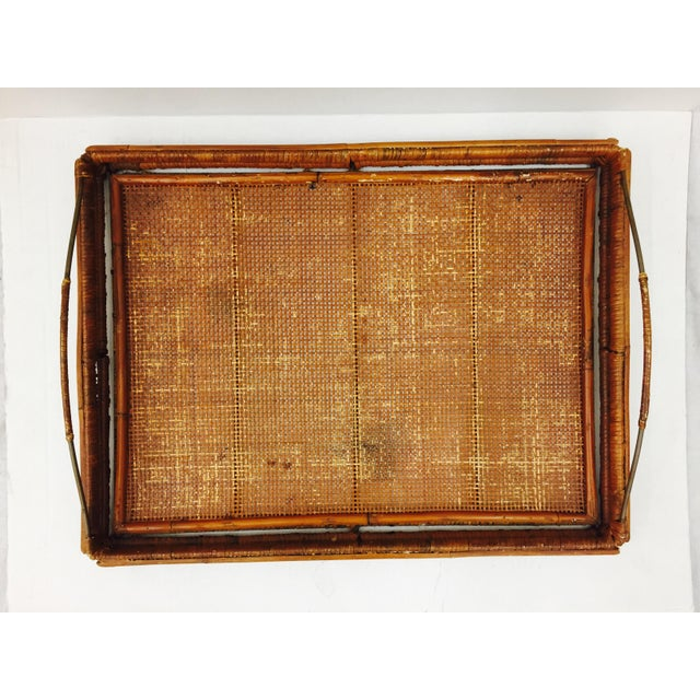 Vintage Woven Cane & Brass Serving Tray For Sale In Raleigh - Image 6 of 9