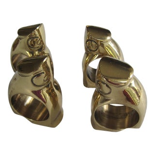 Vintage Brass Owl Napkin Rings - 4 Pieces For Sale
