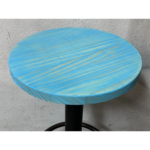 New Round Folding Bistro Table With Wood Top & Iron Base For Sale In Miami - Image 6 of 7