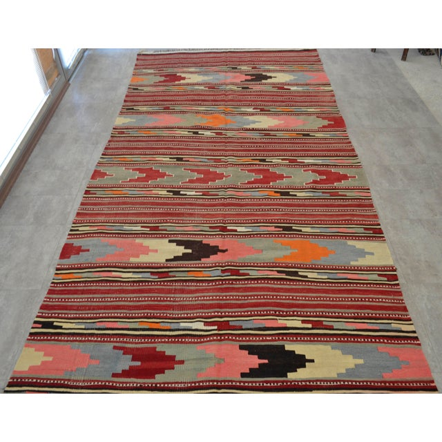 Antique Turkish Kilim Hand Woven Wool Large Runner Rug - 6′5″ × 13′8″ - Image 5 of 10