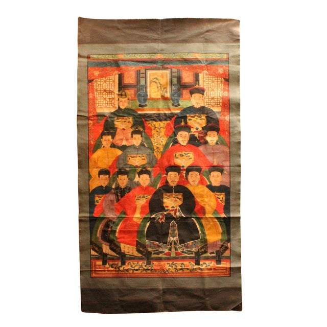 Art Nouveau Chinese Hand-Painted Canvas Color Ink Ancestors Painting Art For Sale - Image 3 of 7