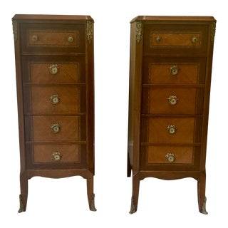 Antique Neoclassical Narrow Lingerie Chests - a Pair For Sale