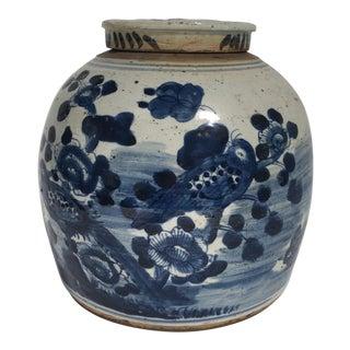 Chinoiserie Bird-Motif Porcelain Blue & White Ginger Jar For Sale
