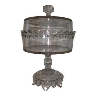 Bakery Glitz Glass Biscuit Compote With Lid on Stand 19th Century For Sale