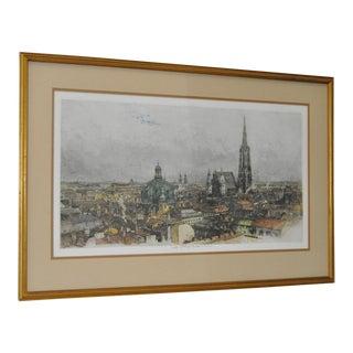 "Luigi Kasimir ""Vienna"" Estate Signed Color Etching C.1940s For Sale"