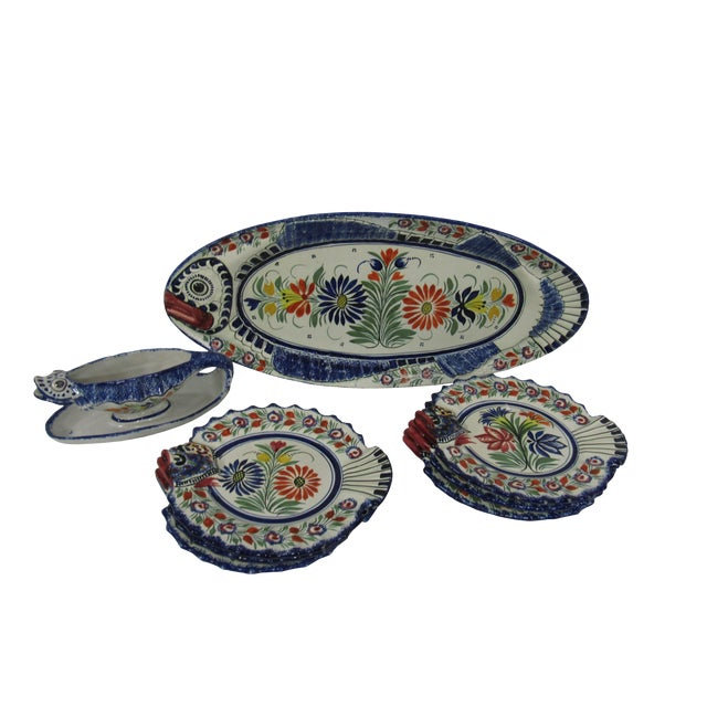 Mid-Century French Henriot Quimper Fish Service Set - Set of 8 For Sale