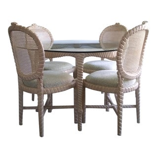 Vintage Italian Regency Twisted Carved Wood Caned Table & Chairs For Sale