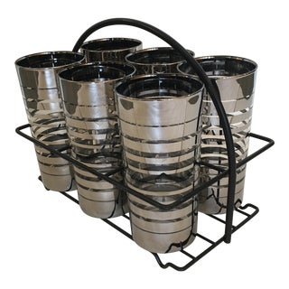 Silver Banded Mid-Century Highball Tumbler Glasses With Iron Caddy - Set of 6 For Sale