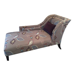 "Kravet Custom ""Royal Leaf"" One-Arm Floral Upholstered Chaise"