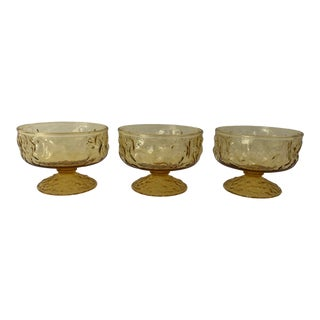 Midcentury Anchor Hocking Milano Crinkle Amber Sherbet /Dessert Glasses S/3 For Sale