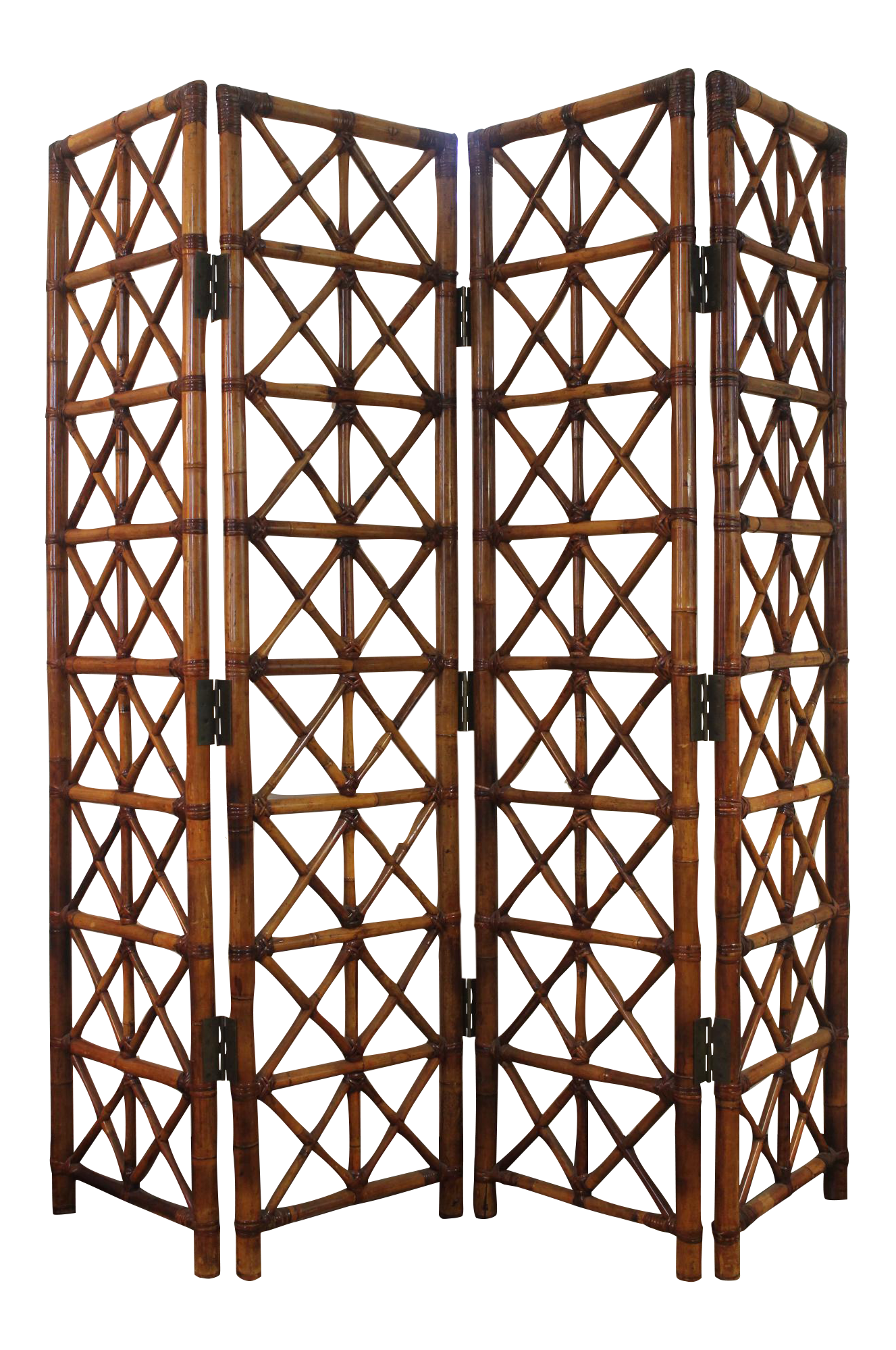 Vintage Bamboo Rattan Folding Room Divider Chairish