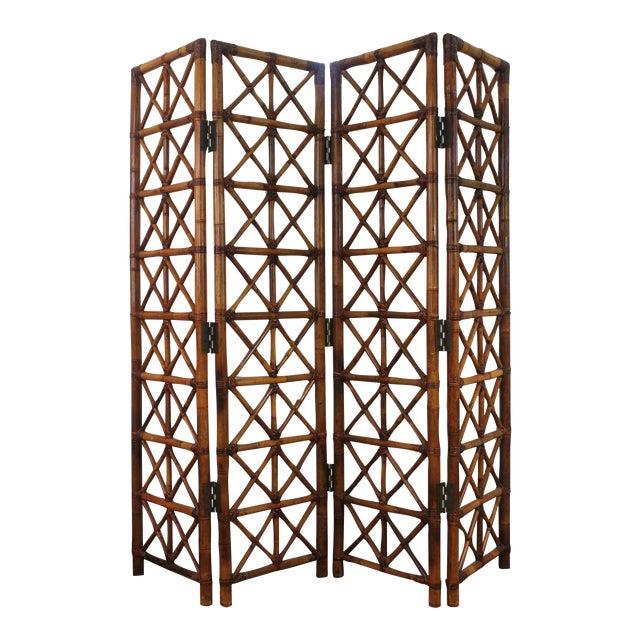 Vintage Bamboo Rattan Folding Room Divider For Sale