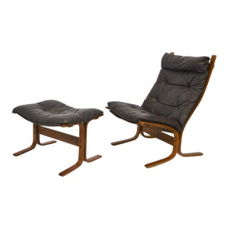 Mid-Century Sling Chair and Ottoman For Sale