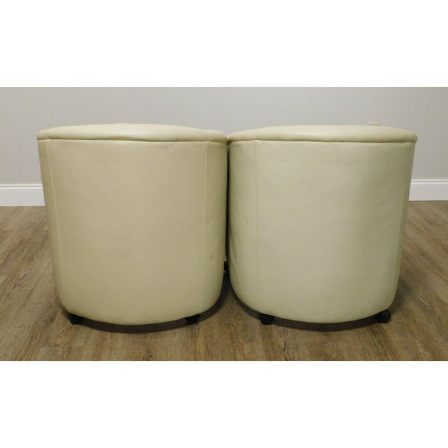 Vintage Set 12 Postmodern Off White Leather Barrel Back Chairs For Sale In Philadelphia - Image 6 of 13