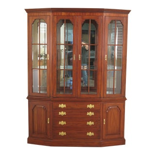 1990s Traditional Henkel Harris Cherry China Cabinet For Sale