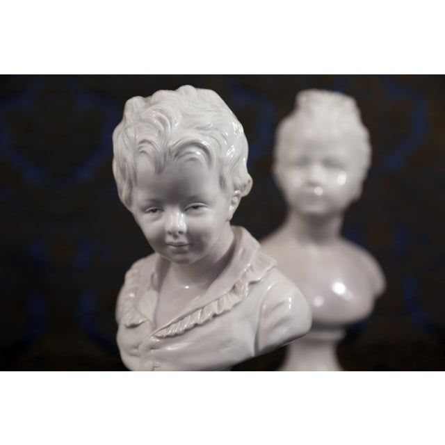 Vintage Porcelain Borghese Boy and Girl Busts by Houdon F. Kessler - a Pair For Sale - Image 4 of 10