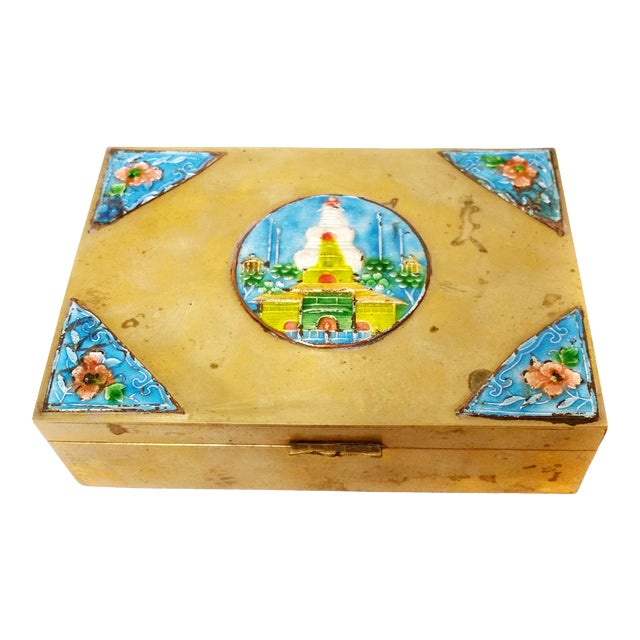 Vintage Solid Brass Enamel Brass Hinged Box For Sale