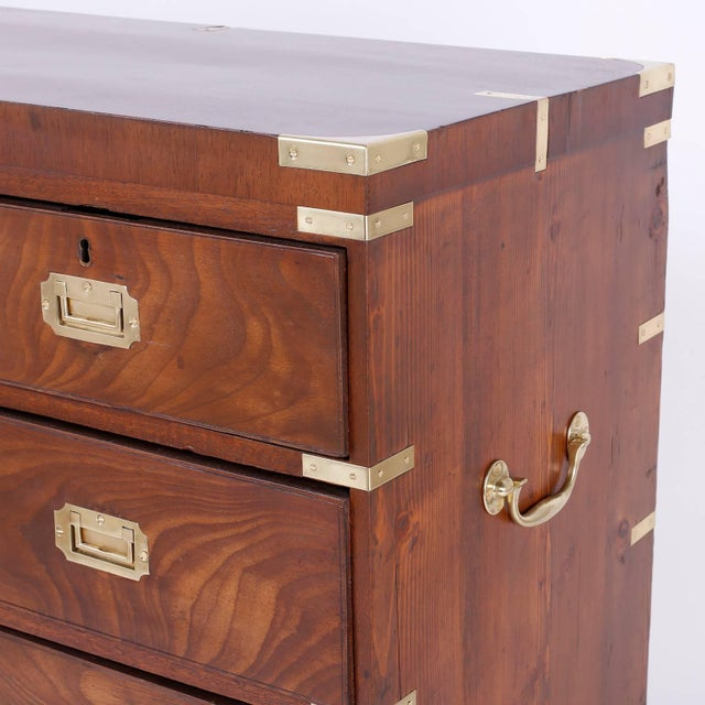 Campaign Antique Campaign Style Chest of Drawers or Dresser For Sale - Image 3 of 11