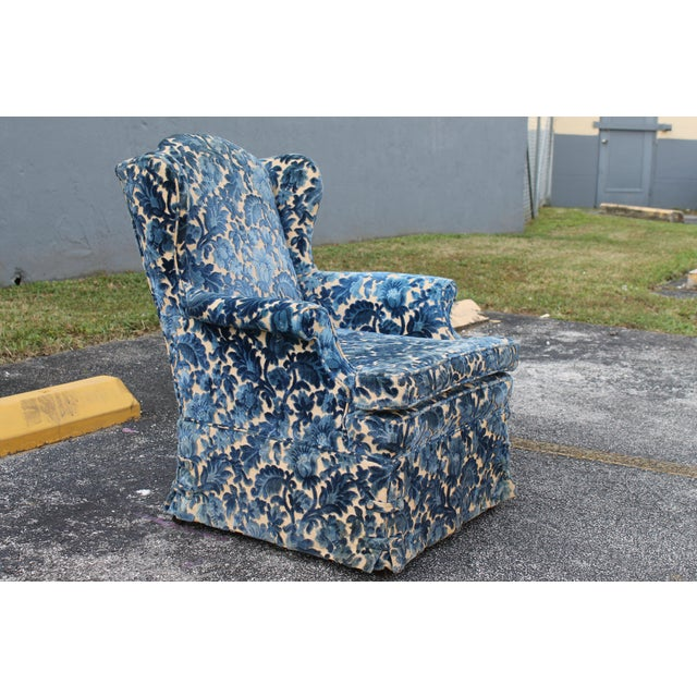 Blue Cut Crushed Velvet Wingback Chairs - A Pair For Sale - Image 8 of 10