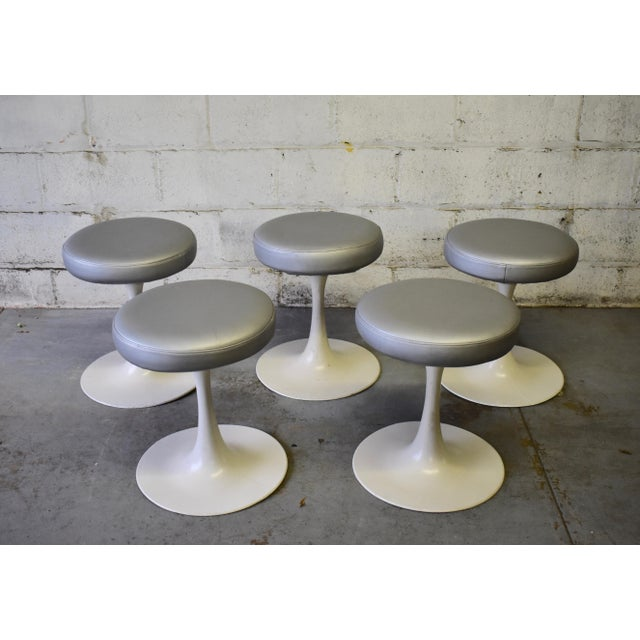Mid Century Modern Vintage Knoll Style Tulip Stool(s) France For Sale - Image 4 of 7
