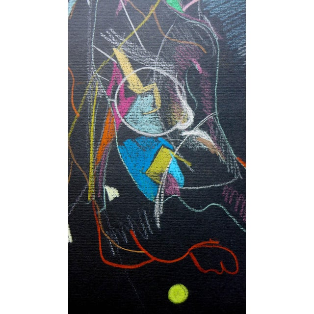 Abstract Pastel on Black Paper - Image 3 of 4