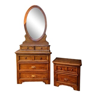 Dixie 1970's Style Honey Maple Dresser, Mirror and Night Stand Bedroom Set - 3 Pc. For Sale