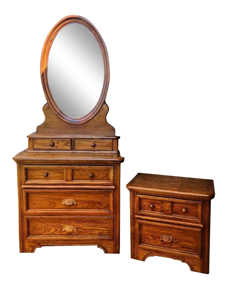 Dixie 1970u0027s Style Honey Maple Dresser, Mirror And Night Stand Bedroom Set    3 Pc.