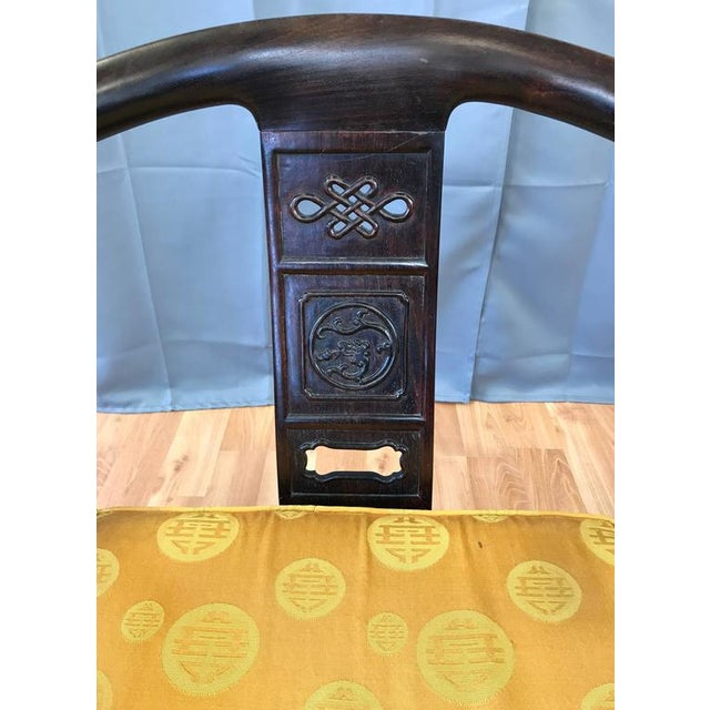 Chinese Rosewood Horseshoe Chow Chairs, 1920s - A Pair For Sale - Image 9 of 10