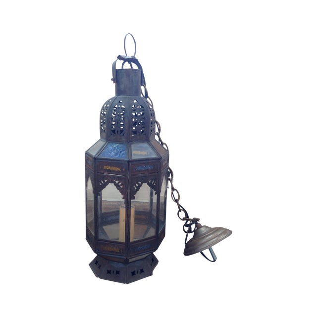Stained Glass Moroccan Hanging Pendant Lantern - Image 1 of 3