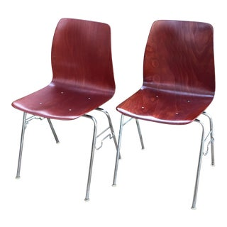Vintage Royal Pagholz Bent Plywood Stacking Chairs- a Pair For Sale
