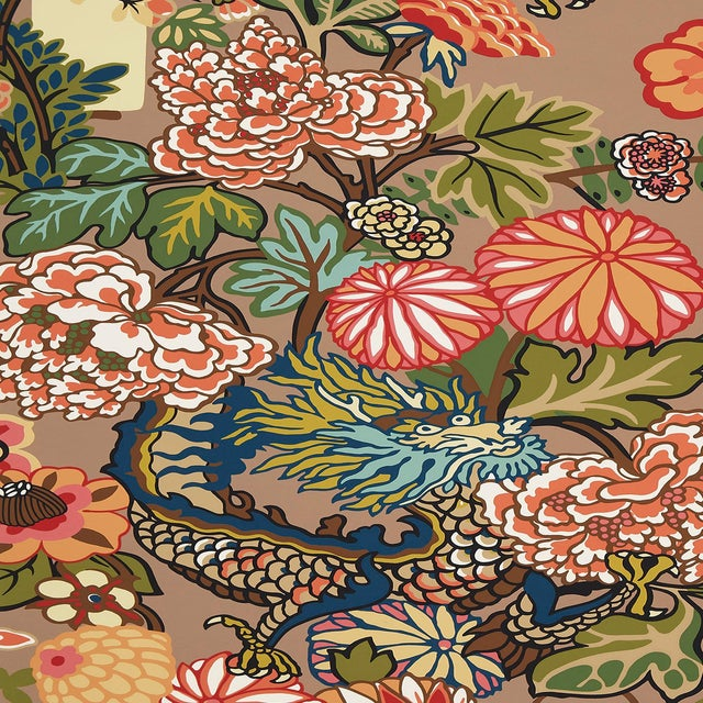 Sample - Schumacher Chiang Mai Dragon Wallpaper in Mocha For Sale