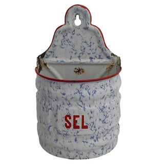 Belgian Enamel Salt Canister For Sale