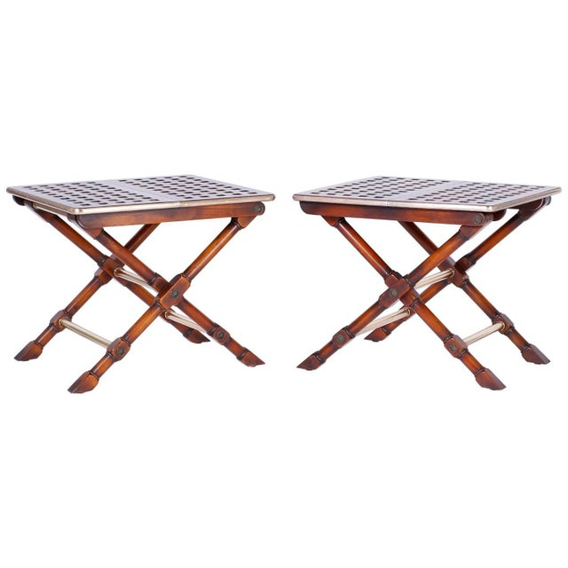 Yacht Style Folding Tables - A Pair For Sale - Image 10 of 10