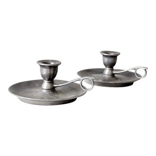 Vintage Carson Pewter Style Candlestick Holders - a Pair For Sale