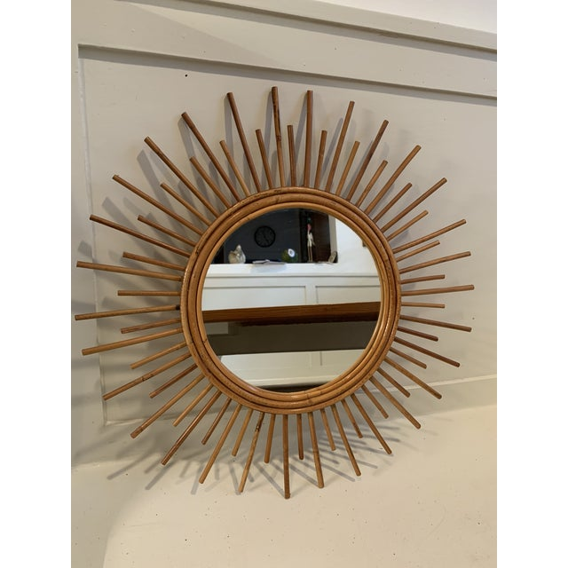 Wood Vintage Rattan Sunburst Mirror For Sale - Image 7 of 7